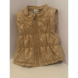 Girl's 6-9 Month Gold Glitter Puffer Vest for Fall
